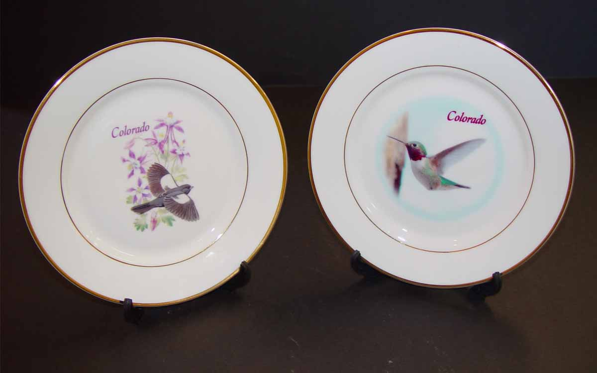 Decorative Colorado Plates with stand that are available- $14.99 ea & Ceramic Plate Page